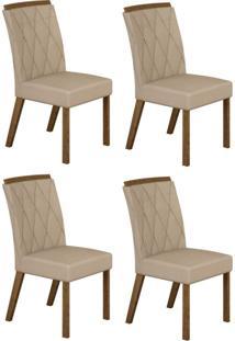 Conjunto Com 4 Cadeiras Esmeralda Ipê E Veludo Palha