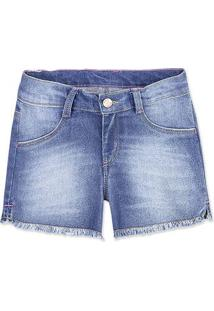 Bermuda Jeans Menina Com Lavação E Barra Desfiada Hering Kids
