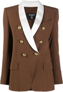 Balmain Oversized Lapel Double-Breasted Jacket - Marrom