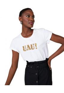 Amaro Feminino T-Shirt Ampla Decote Redondo Uau!, Off-White