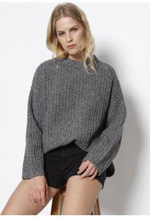Blusão Em Lã & Tricô - Cinzalevis
