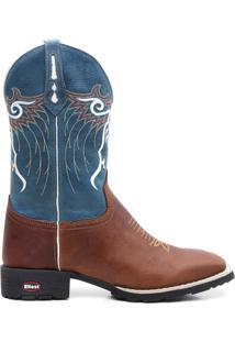 Bota Texana Crazy Horse Fossil Azul Marinho Lisa 0 - Masculino-Marrom Claro+Azul