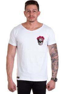 Camiseta Lucas Lunny T Shirt Gola Canoa Caveira Floral Lateral Branca