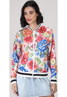 Jaqueta Bomber Feminina Estampada Floral Branca