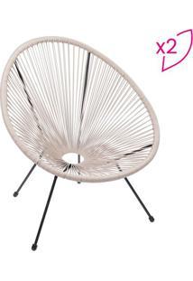 Jogo De Cadeiras Acapulco- Fendi & Preto- 2Pçs- Or Design