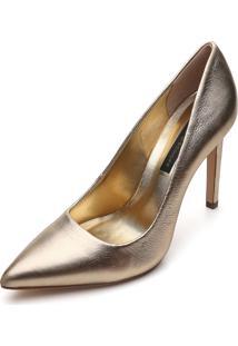 Scarpin Couro Jorge Bischoff Metalizado Dourado