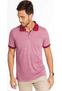Camiseta Polo Adulto Com Botões Vermelho