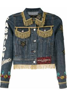 Dolce & Gabbana Jaqueta Jeans Com Franjas - Azul