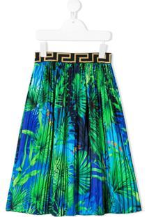 Young Versace Saia Plissada Com Estampa De Folhas - Azul