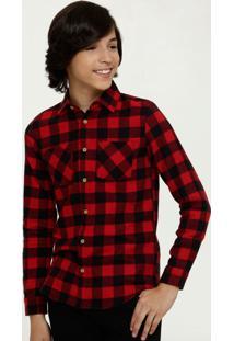 Camisa Juvenil Estampa Xadrez Manga Longa Mr