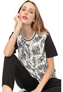 Camiseta Colcci Caveiras Off-White/Preta