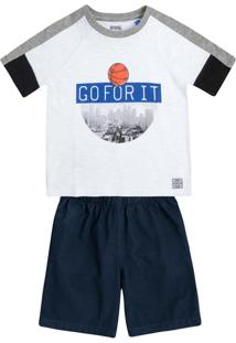 Conjunto Curto Infantil Menino Com Camiseta Raglan E Bermuda