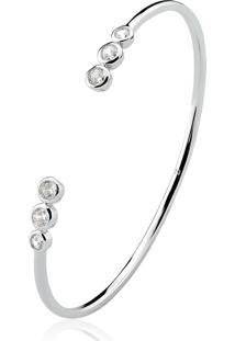 Bracelete Cravejado Folheado A Ródio