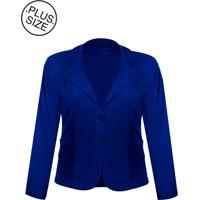 96b1a1284 Blazer Outletdri Casaco Terno Terninho Social Plus Size Azul