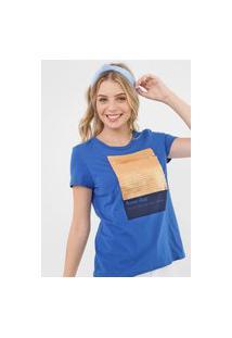 Camiseta Enfim Paetê Com Vira Azul