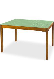 Mesa Para Cozinha De Madeira Maciça Taeda Com Tampo Colorido Olga Verniz Nózes E Verde Sálvia 120X80X75Cm