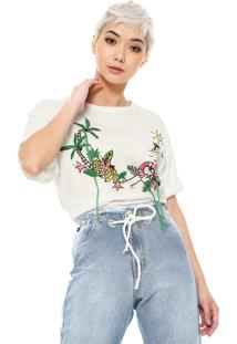 Camiseta Ellus 2Nd Floor Bordada Branca