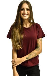 Camiseta Rich Young Baby Look Básica Lisa Malha Vinho