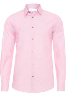 Camisa Masculina Regular Micro Listras - Vermelho