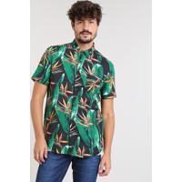 9ffba345c Camisa Masculina Estampada De Folhagem Com Bolso Manga Curta Preta