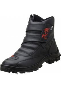 Bota Motociclista Th Velcro Preta