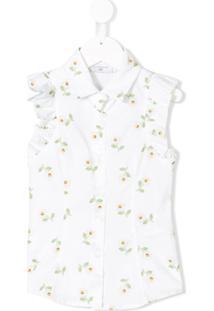 Monnalisa Camisa Floral Sem Mangas - Branco