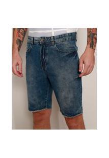 Bermuda Jeans Masculina Slim Marmorizada Azul Escuro