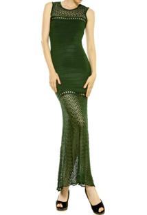 Vestido Longo Maria Pavan Rendado Verde