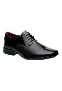 Sapato Social Masculino Bico Quadrado 801 Cadarço Preto