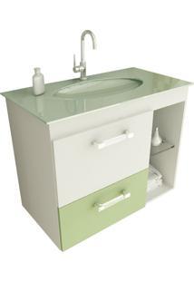 Gabinete Para Banheiro 80 Cm Com 2 Peças Vetro 12 Branco E Verde Tomdo