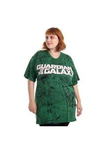 Camiseta Plus Size Guardiões Da Galáxia Rocket Verde