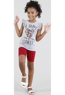 Conjunto Infantil De Regata Com Babado Cinza Mescla + Bermuda Estampada De Corações Vermelha