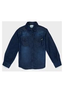 Camisa Infantil 4 A 10 Anos Menino Jeans