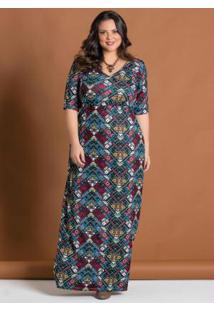 Vestido Étnico Decote V Plus Size Marguerite