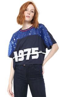 Camiseta Cropped Triton Paetê Azul-Marinho
