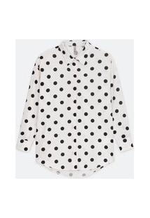 Camisa Manga Longa Em Tricoline Com Estampa De Bolinhas   Blue Steel   Branco   Gg