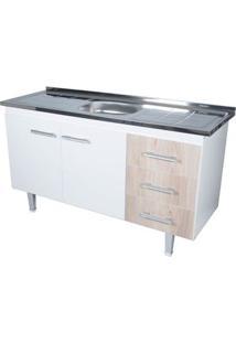 Gabinete De Cozinha New Milano 147,3X55Cm Branco E Madeirado Bonatto