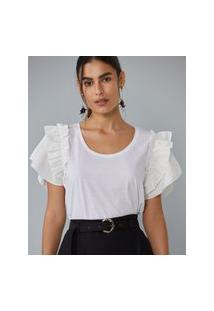 Amaro Feminino T-Shirt Algodão Com Babados, Off-White