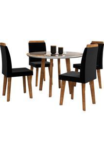 Conjunto Mesa De Jantar Turmalina Branco 1,08X1,08 C/ 4 Cadeiras Rv Mã³Veis - Marrom - Dafiti