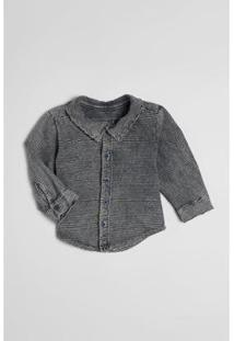 Camisa Bebê Listra Lavado Malha Reserva Mini Masculina - Masculino-Cinza