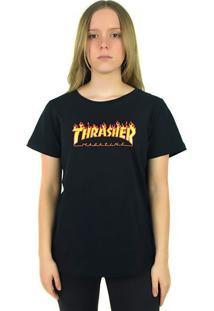 Camiseta Thrasher Magazine Feminina Flame Logo Preta - Kanui