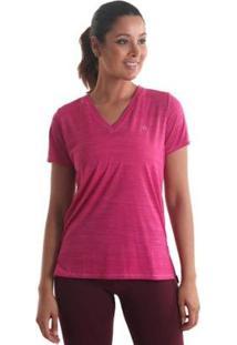 Camiseta Líquido Gola V Mescla Feminina - Feminino-Rosa Escuro