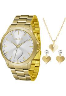 Kit De Relógio Analógico Lince Feminino + Brinco + Colar - Lrgj097L Kw16S1Kx Dourado