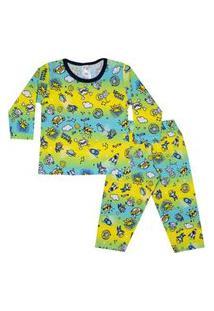 Conjunto Pijama Menino Em Meia Malha Rotativa Amarela - Liga Nessa