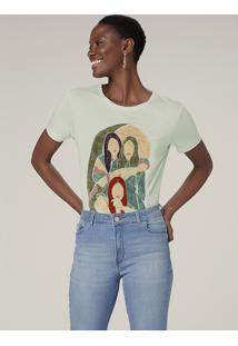Camiseta Manga Curta Com Estampa - Azul