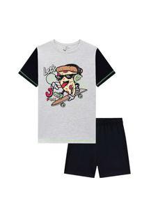 Pijama Infantil Menino Camiseta Manga Curta E Bermuda Pizza Skate Johnny Fox
