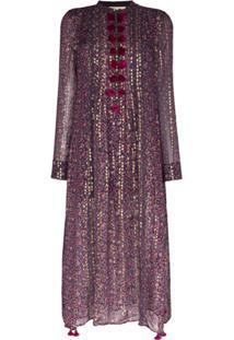 Figue Vestido Kaftan Rumi Com Estampa - Roxo