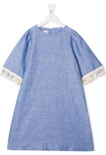 Mariuccia Milano Kids Vestido Com Franjas - Azul