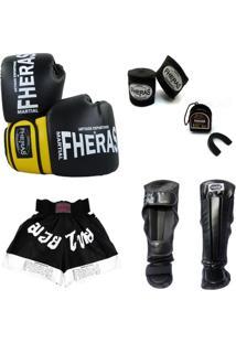 Kit Muay Thai Luva Shorts Bucal Caneleira Bandagem 08 Oz - Unissex