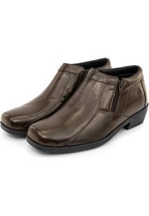 Bota Masculina Couro Lisa Bico Quadrado Br2 Footwear - Cafe